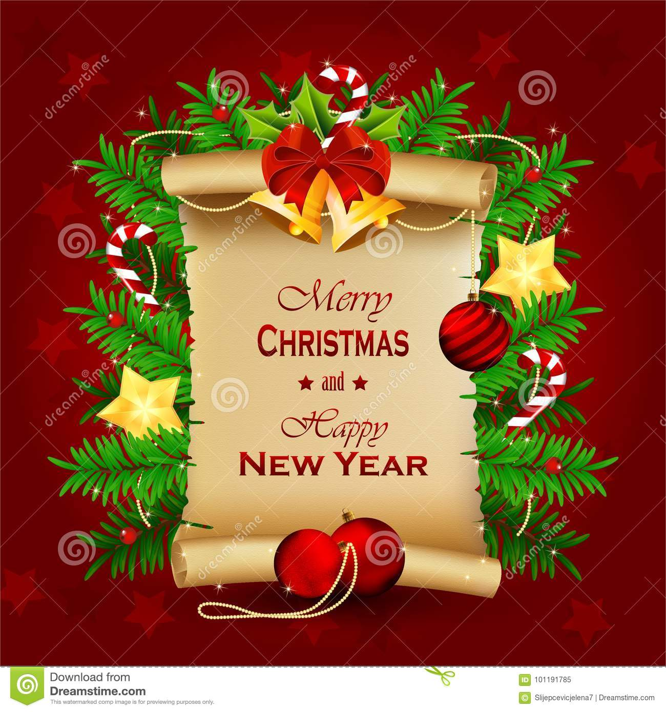 Christmas Old Paper Scroll Greeting Card Stock Vector