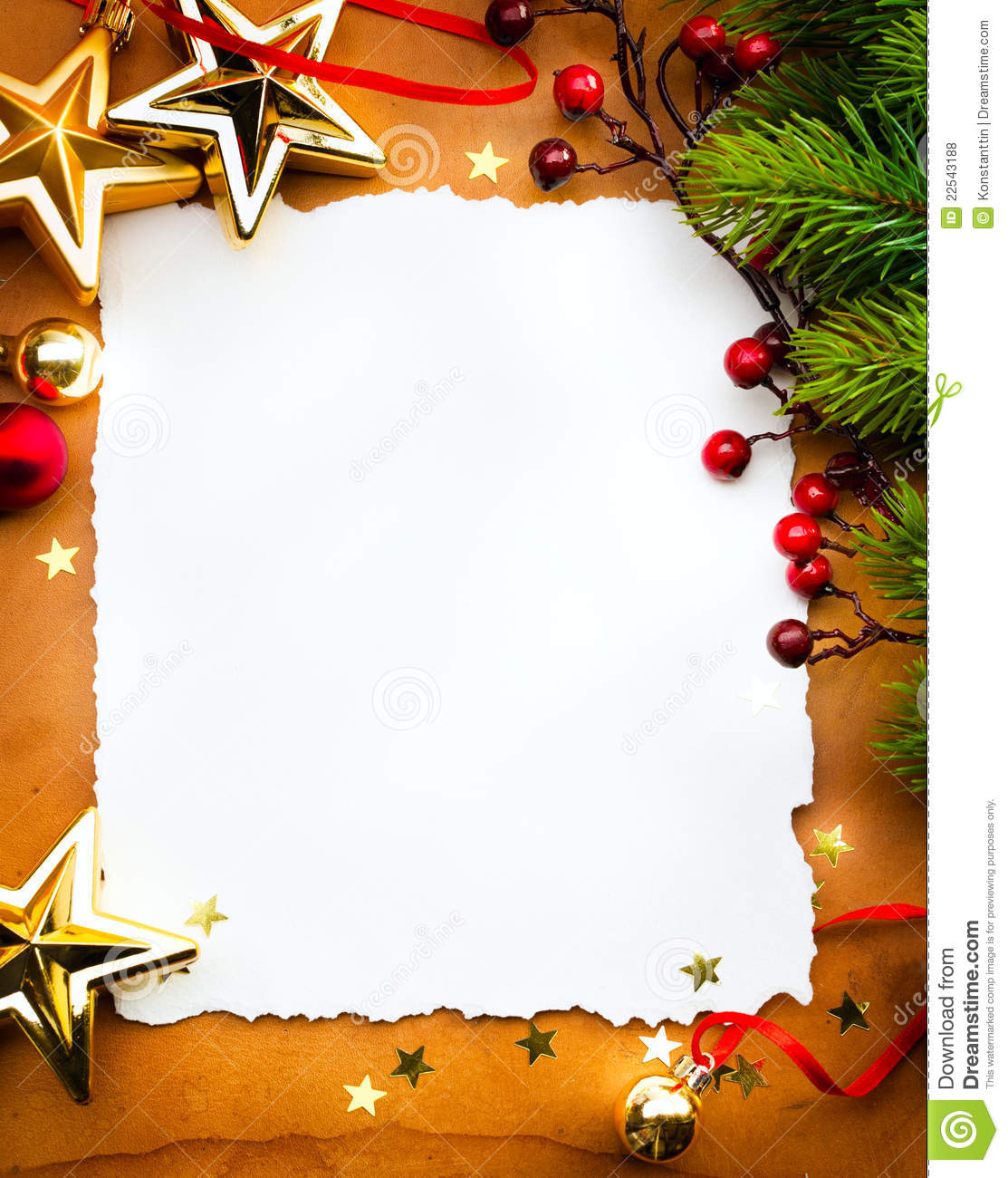 christmas greeting card paper on red backgroun