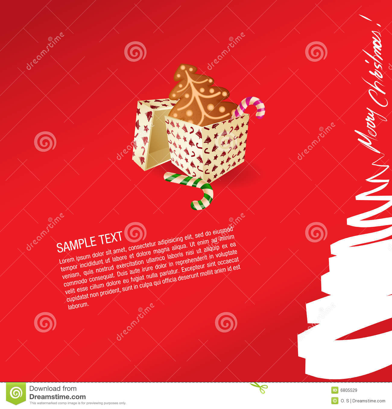 Christmas greeting card - present, sweet and ginge