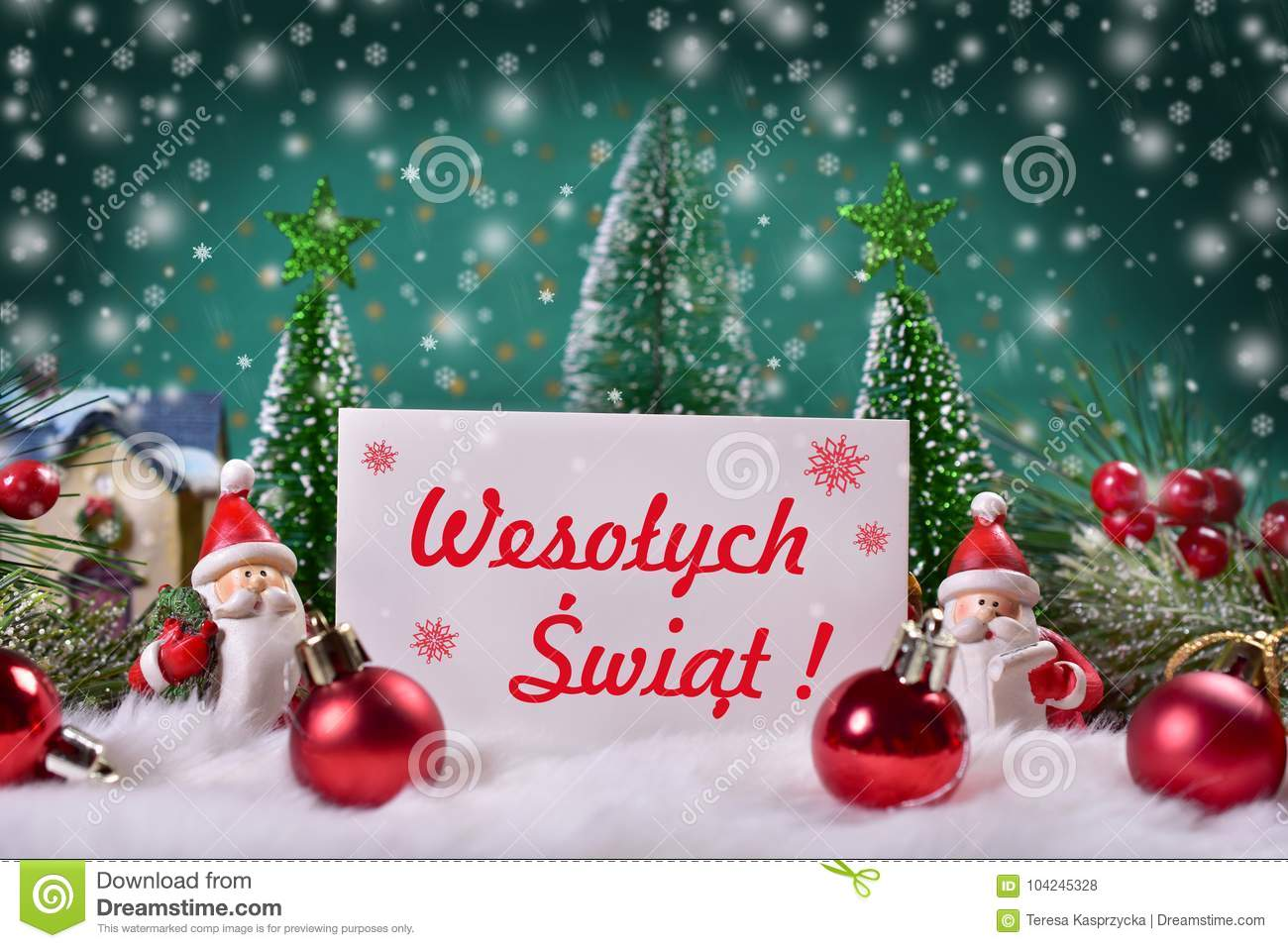 christmas greeting card with red text merry christmas in polish - How To Say Merry Christmas In Polish