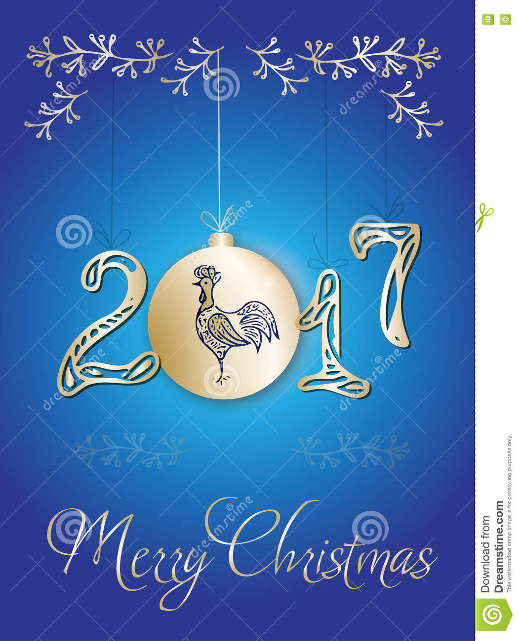 download christmas greeting card 2017 with rooster stock illustration illustration of backdrop hand - Christmas Photo Cards 2017