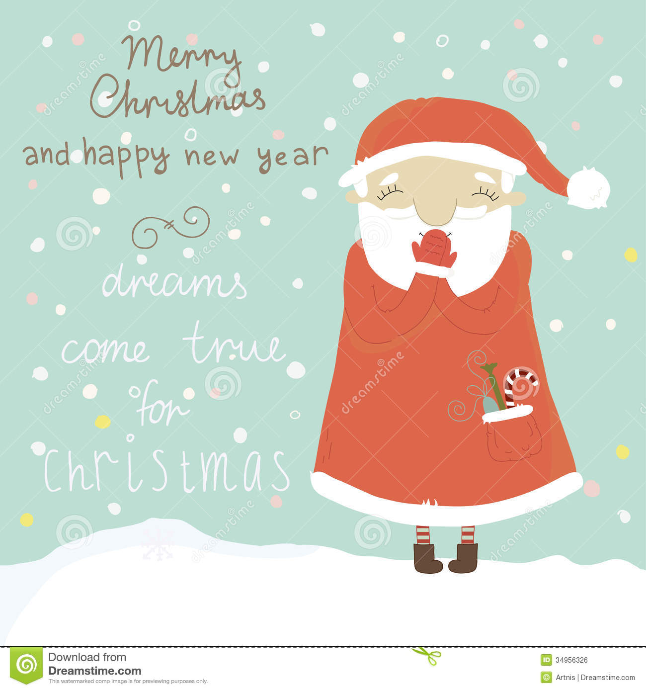 Christmas Greeting Card With Santa Claus Stock Vector Illustration