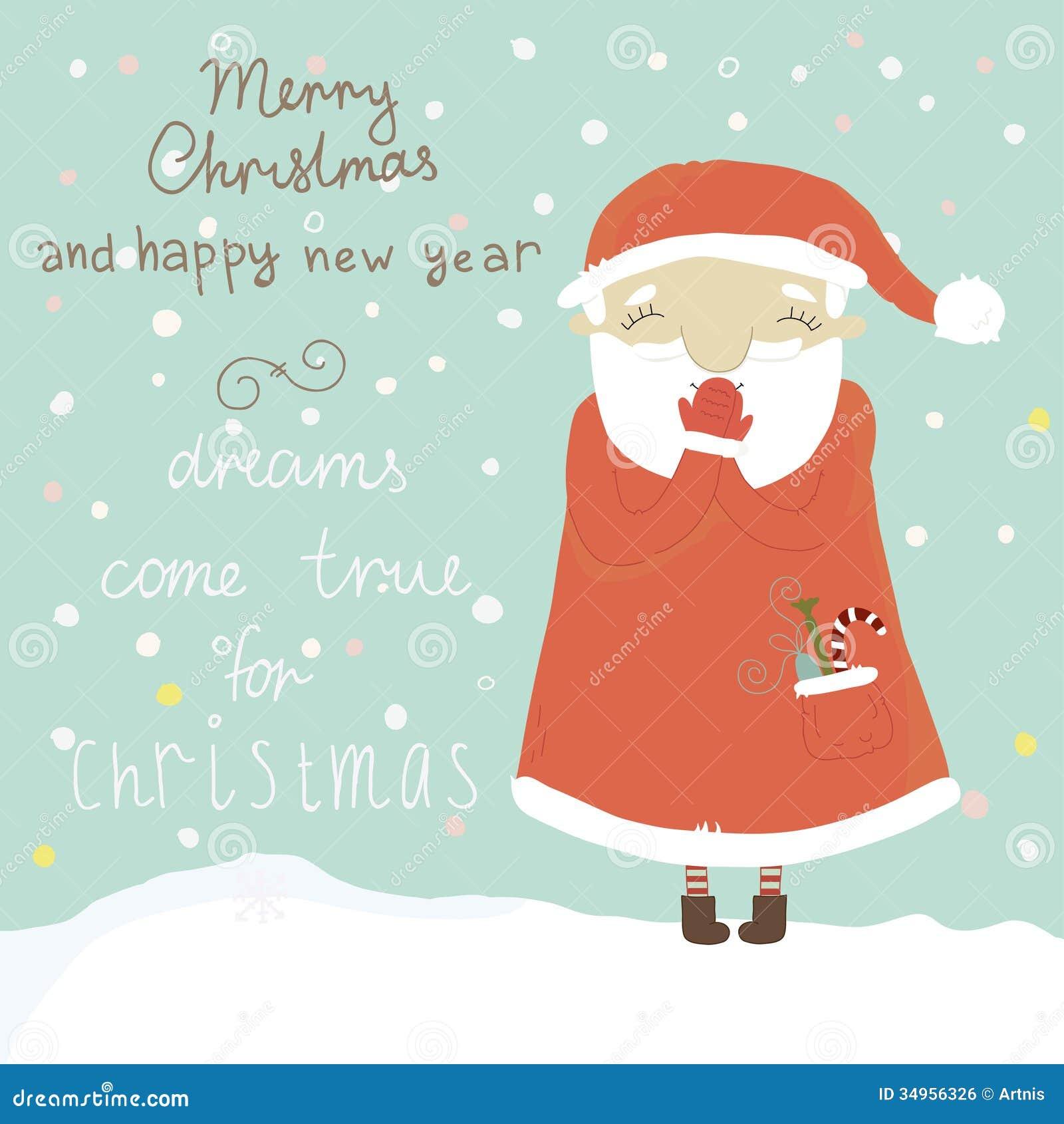 Christmas Greeting Card With Santa Claus Royalty Free