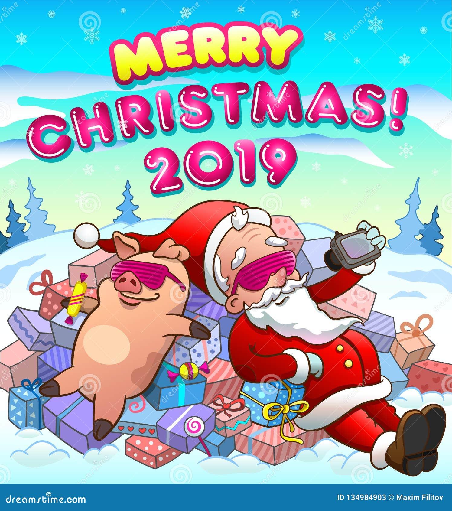 Christmas greeting card with santa and pig