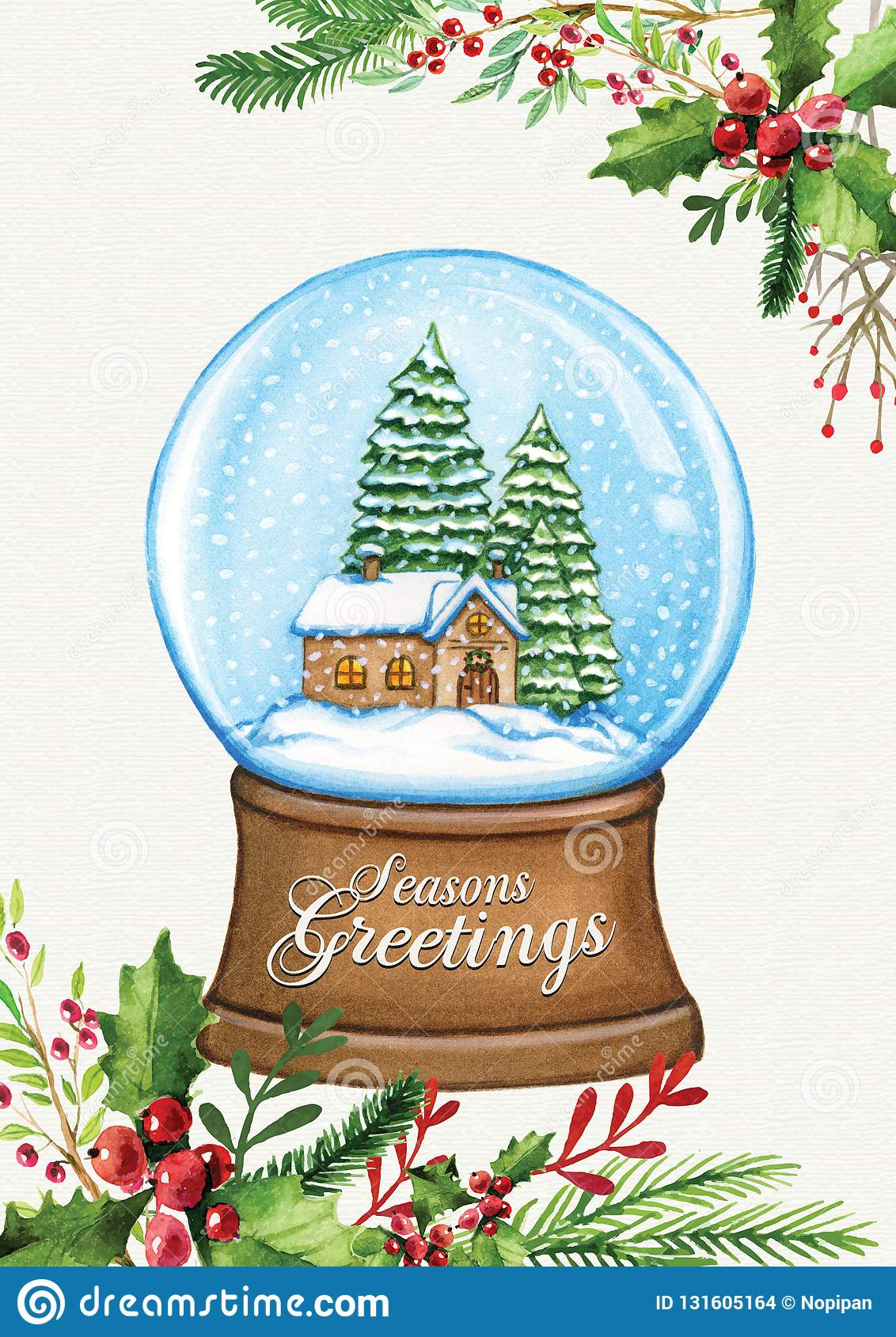 Christmas In Evergreen Snow Globe.Christmas Greeting Card With Snow Globe House Pine Trees