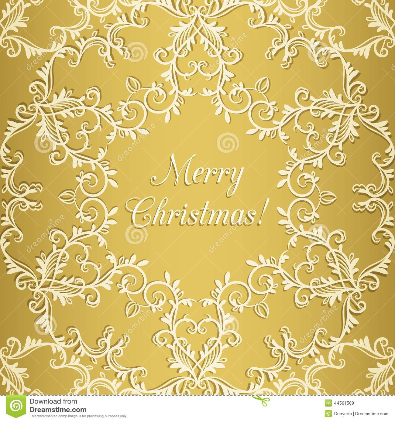 Christmas Greeting Card With Snowflake, Gold Stock Vector