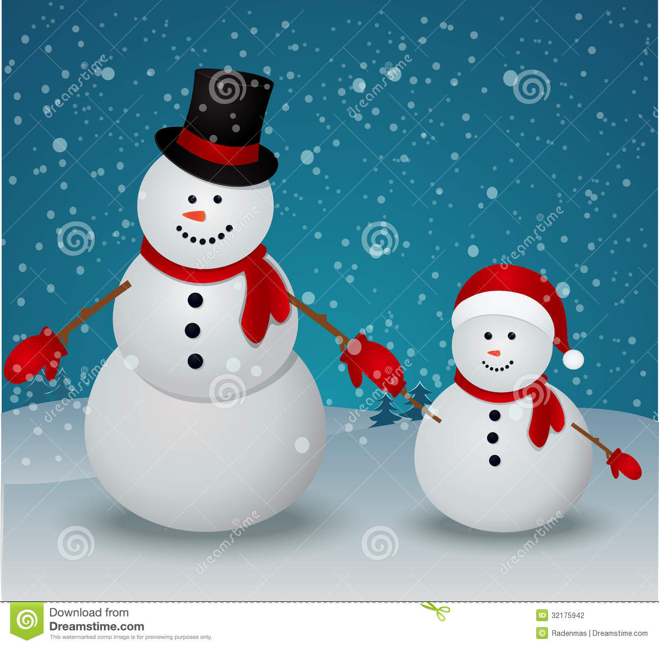 Christmas greeting card with snowman family stock