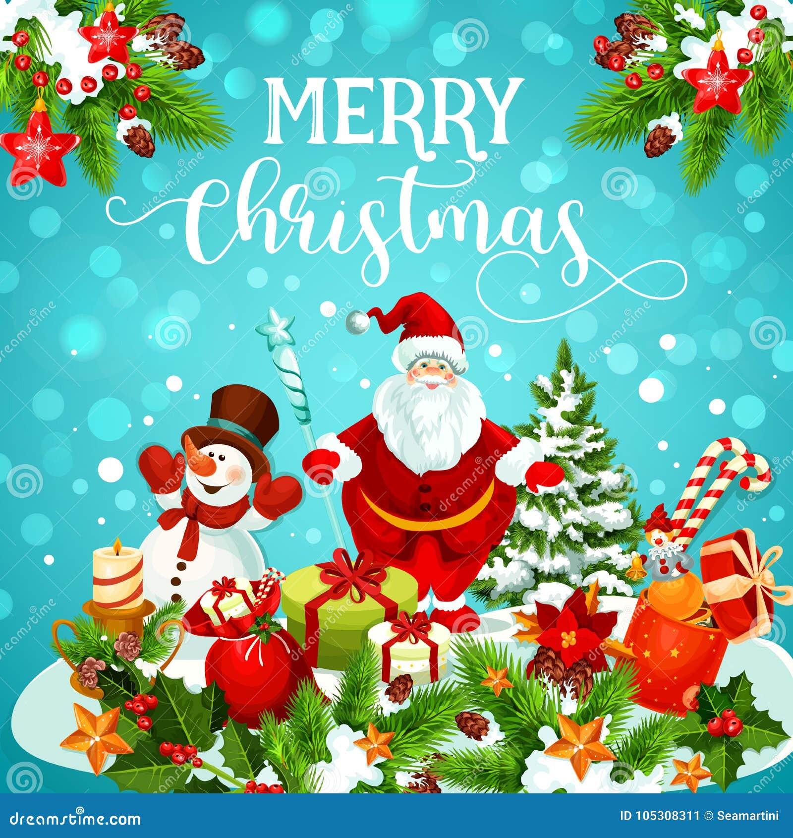 Christmas Greeting Card Of Snowman, Santa And Gift Stock