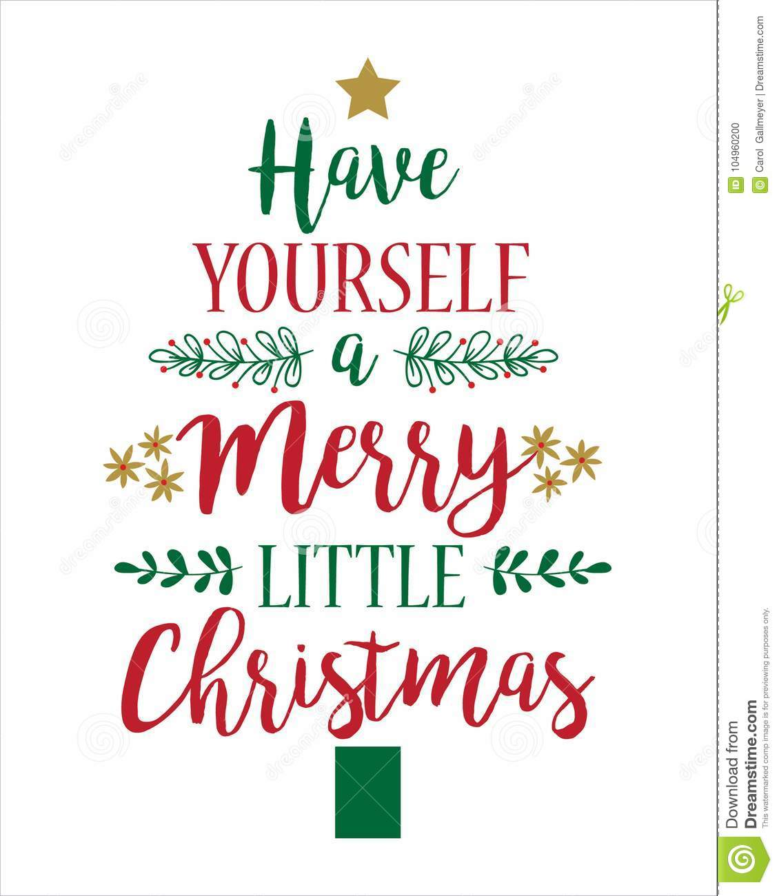 Have Yourself A Merry Little Christmas Sign.Christmas Greeting Card Template Have Yourself A Merry