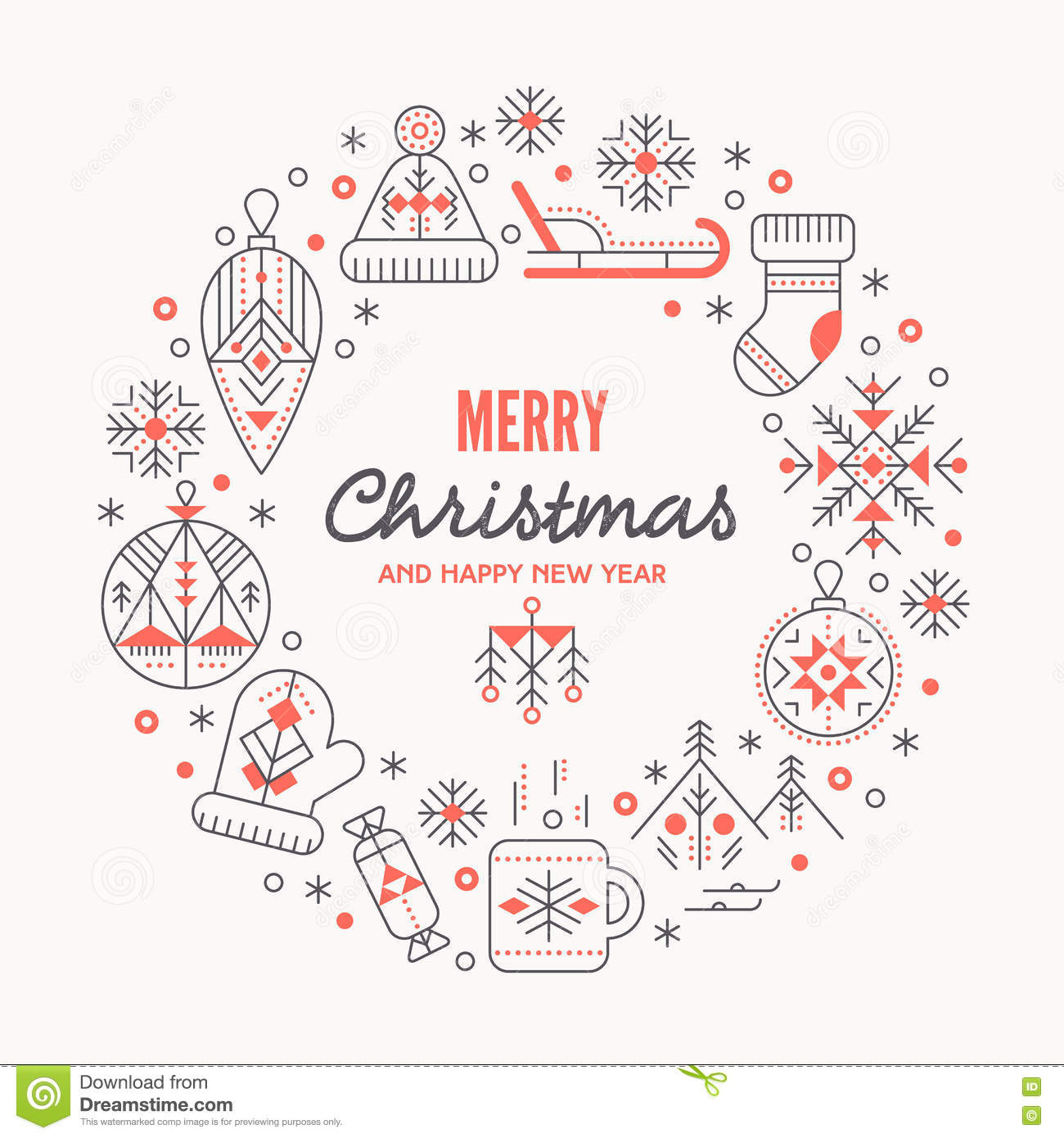 Christmas Greeting Card Template With Outlined Signs Forming A Ring