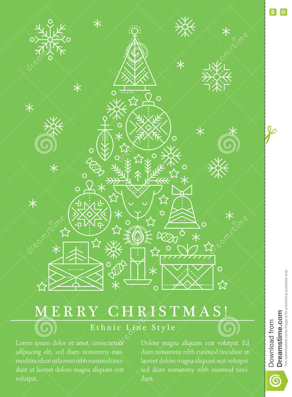 Christmas Greeting Card Template With Outlined Signs Forming A Tree ...
