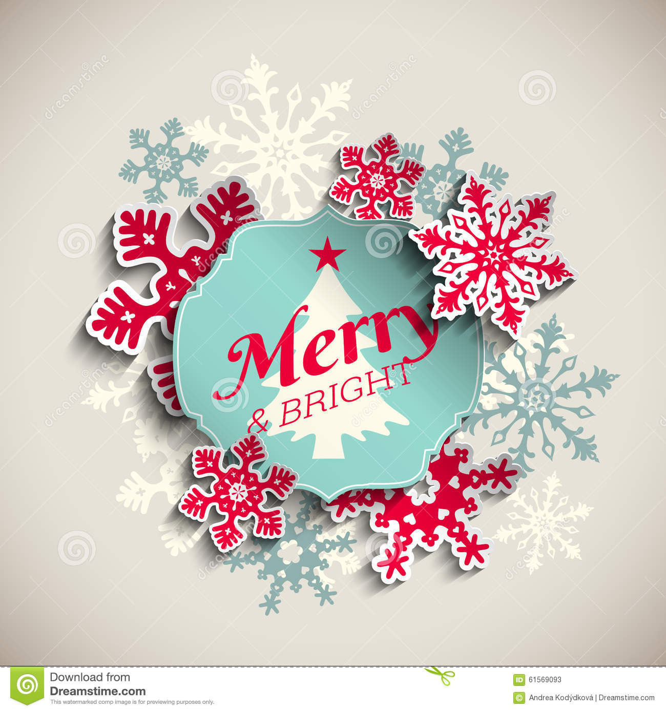 Christmas Greeting Card, Text Merry And Bright Stock Vector ...