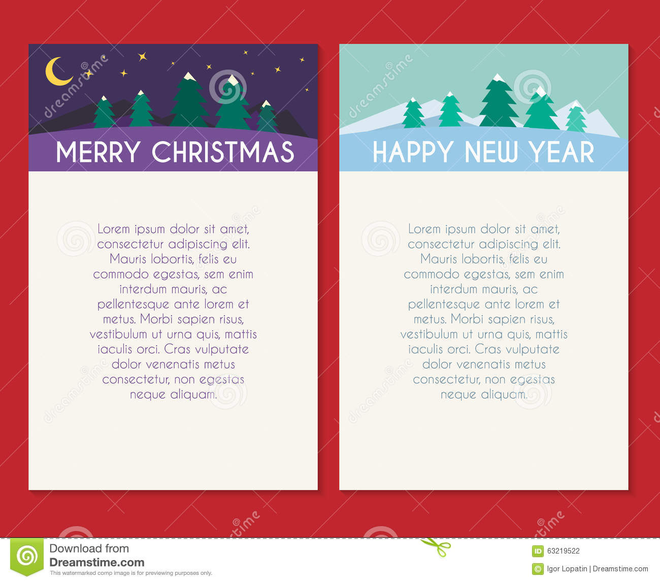 Christmas greeting card vector template stock