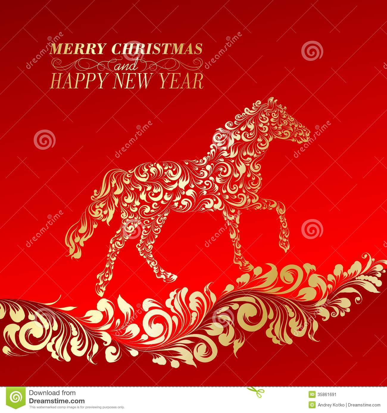 Christmas Greeting Card Stock Vector Illustration Of Nature 35861691