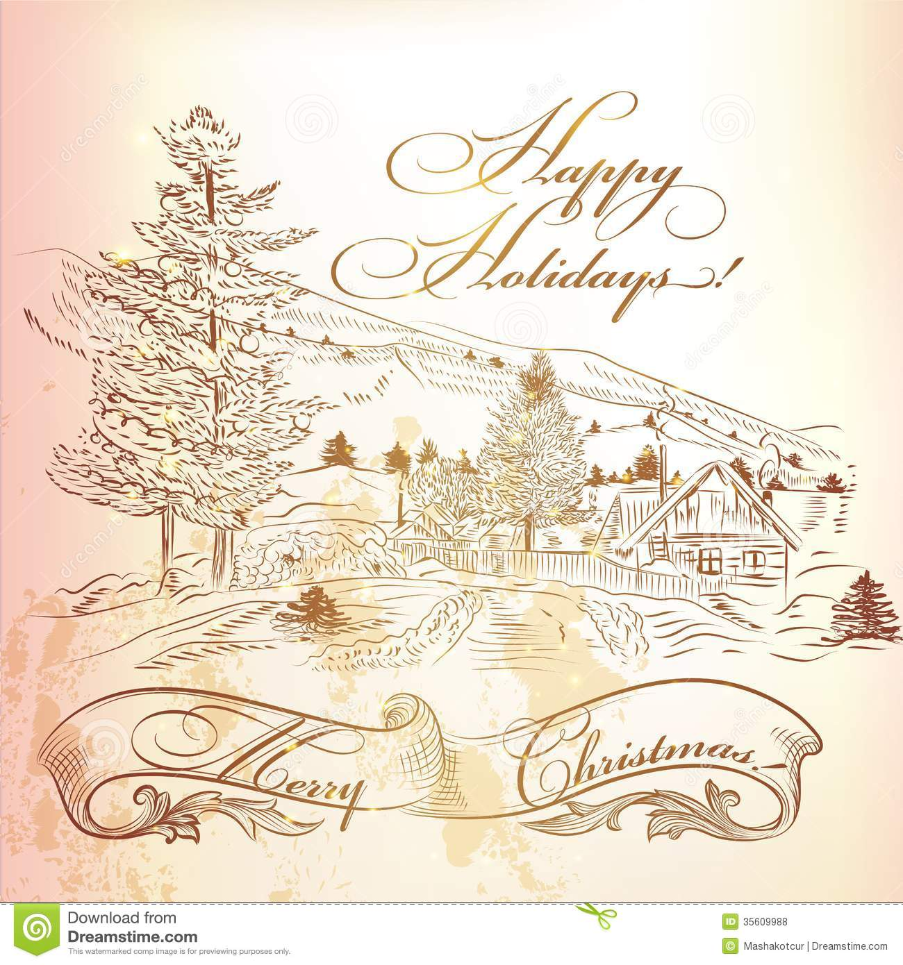 Christmas Greeting Card In Vintage Style With Hand Drawn Landsca Royalty Free Stock Photos