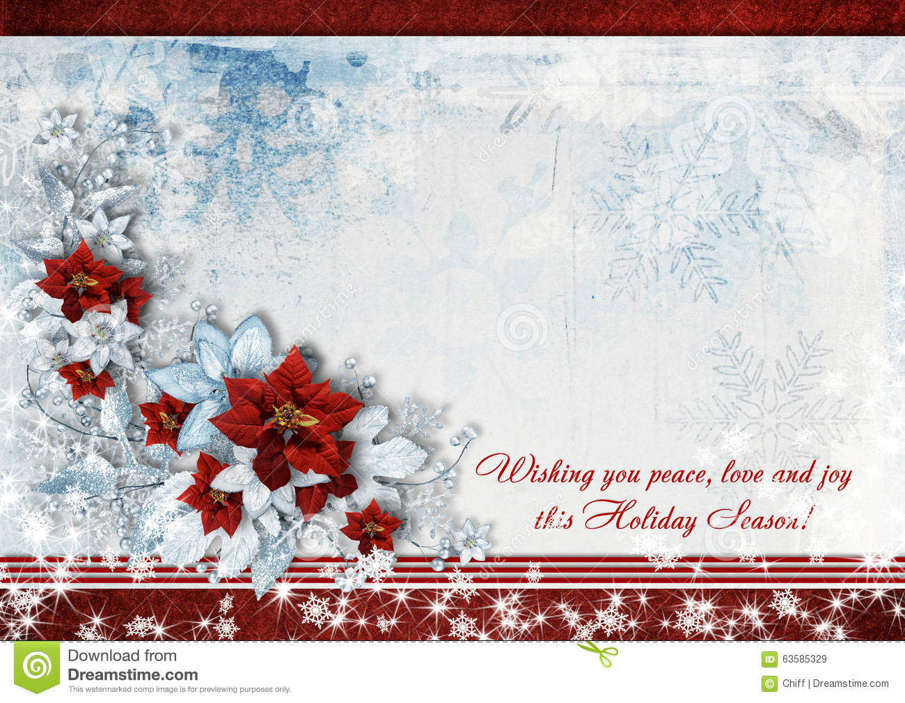 Christmas Greeting Card With The Wishes And Poinsettia. Stock ...
