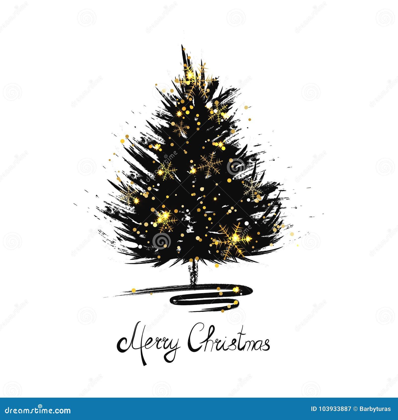 Christmas Greeting Card With Xmas Tree Sketch Stock Illustration
