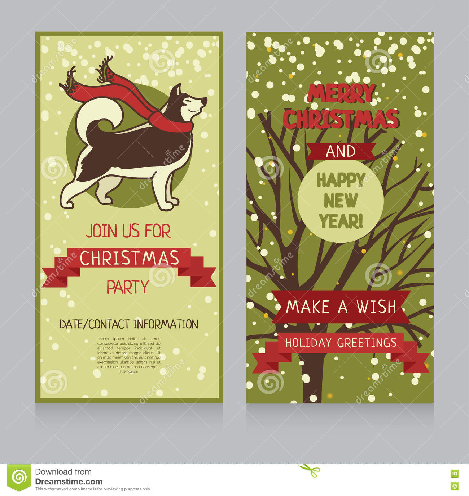 Husky Christmas Cards.Christmas Greeting Cards With Cute Husky Stock Vector