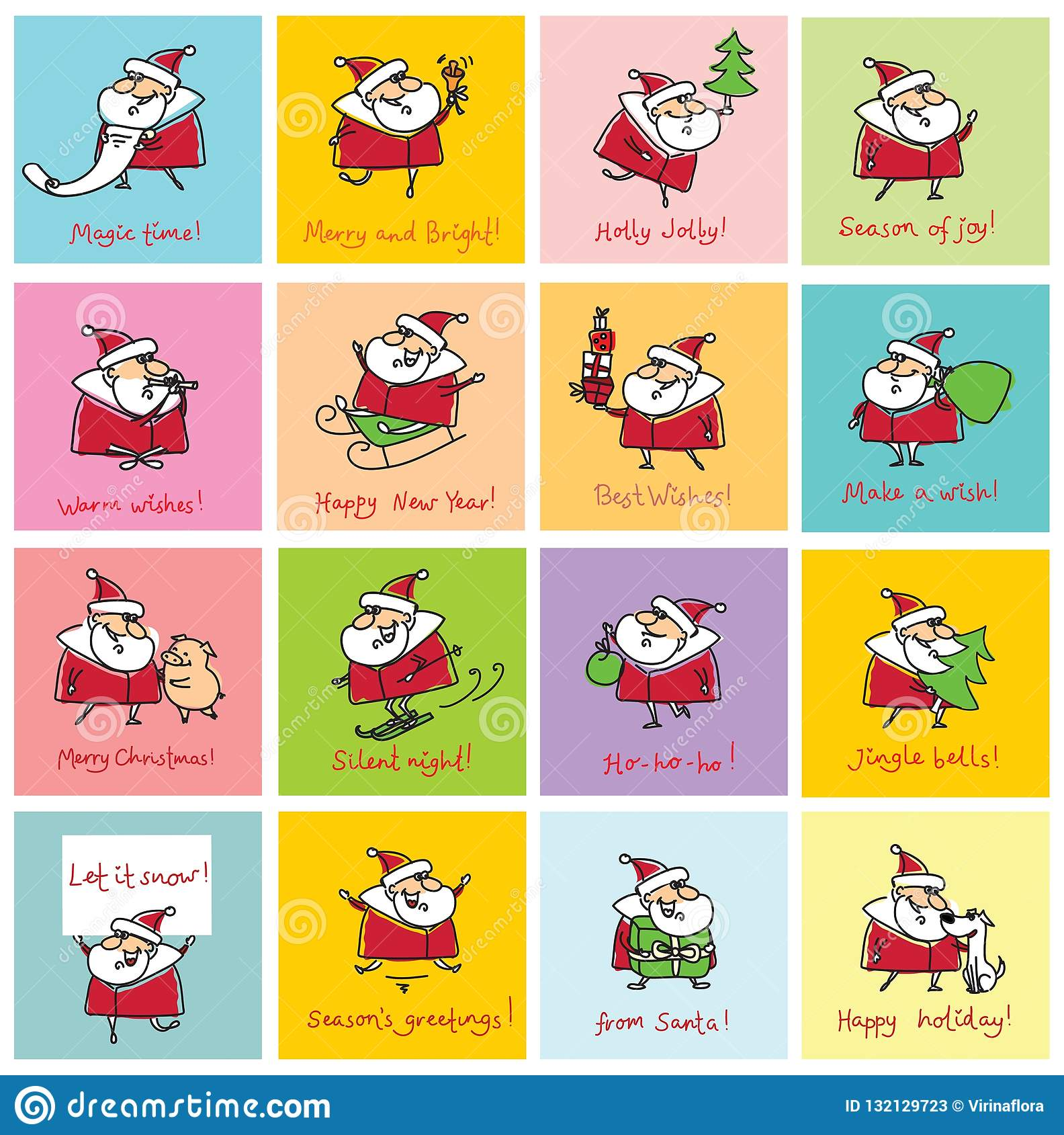 Christmas Card Quotes.Christmas Greeting Cards With Santa Clauses Stock Vector