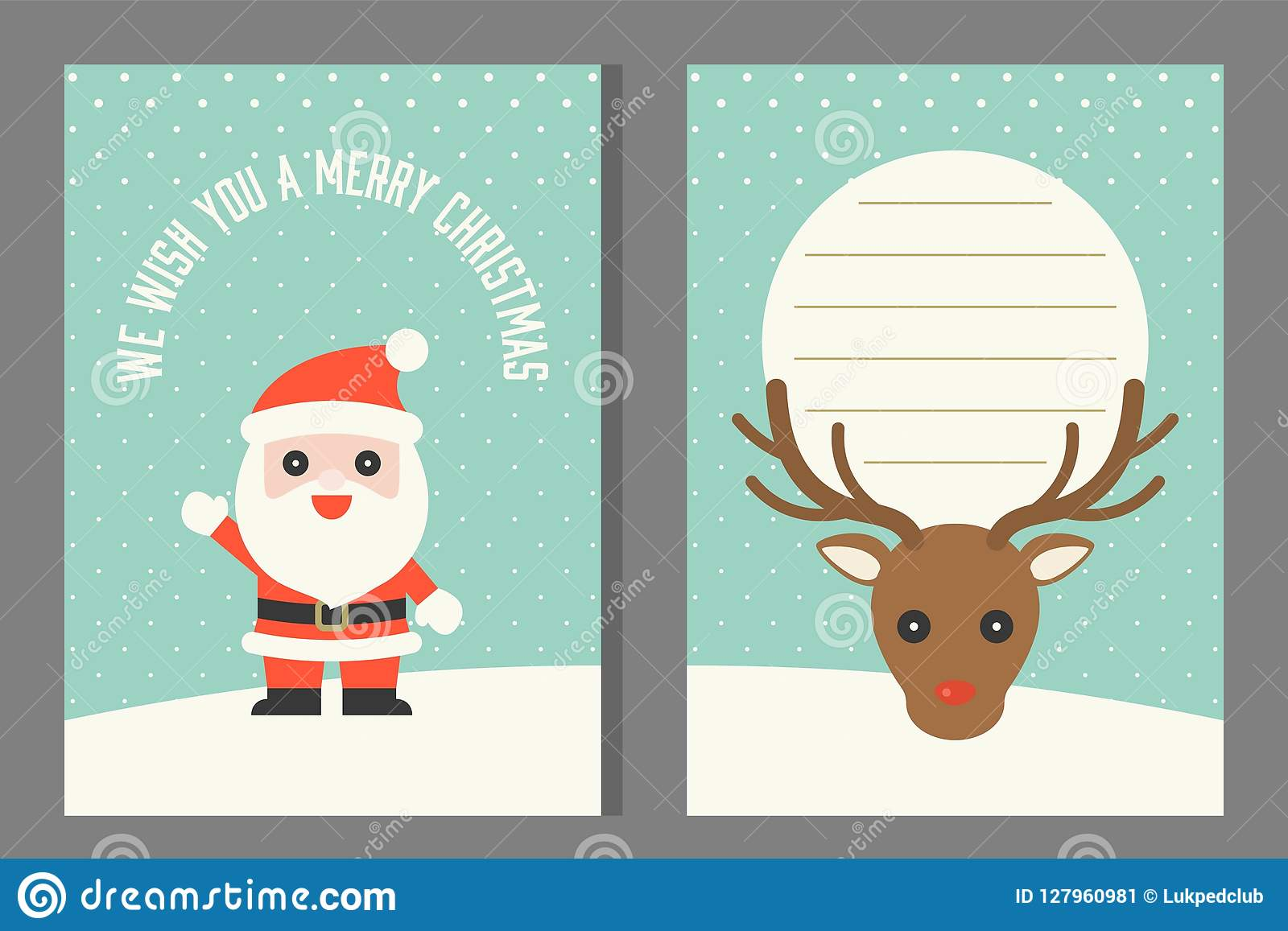 Christmas Greeting Or Invitation Card Template Flat Design