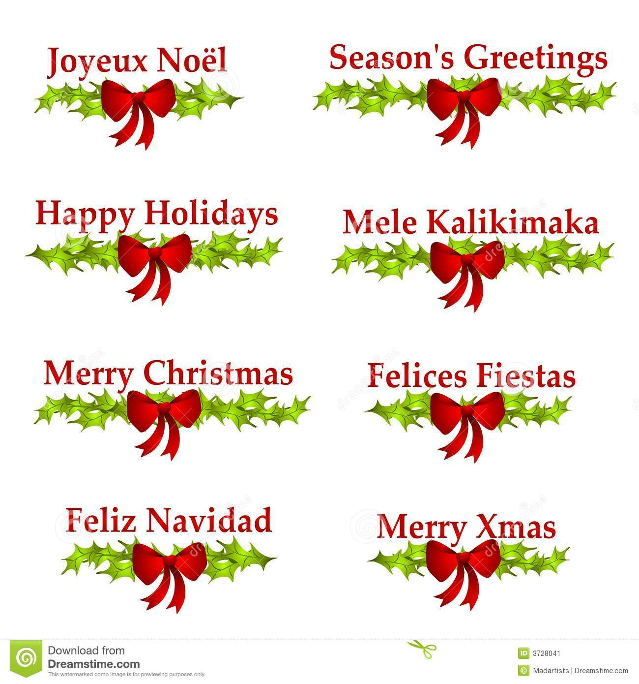 Christmas Greeting Logos Or Banners Stock Illustration