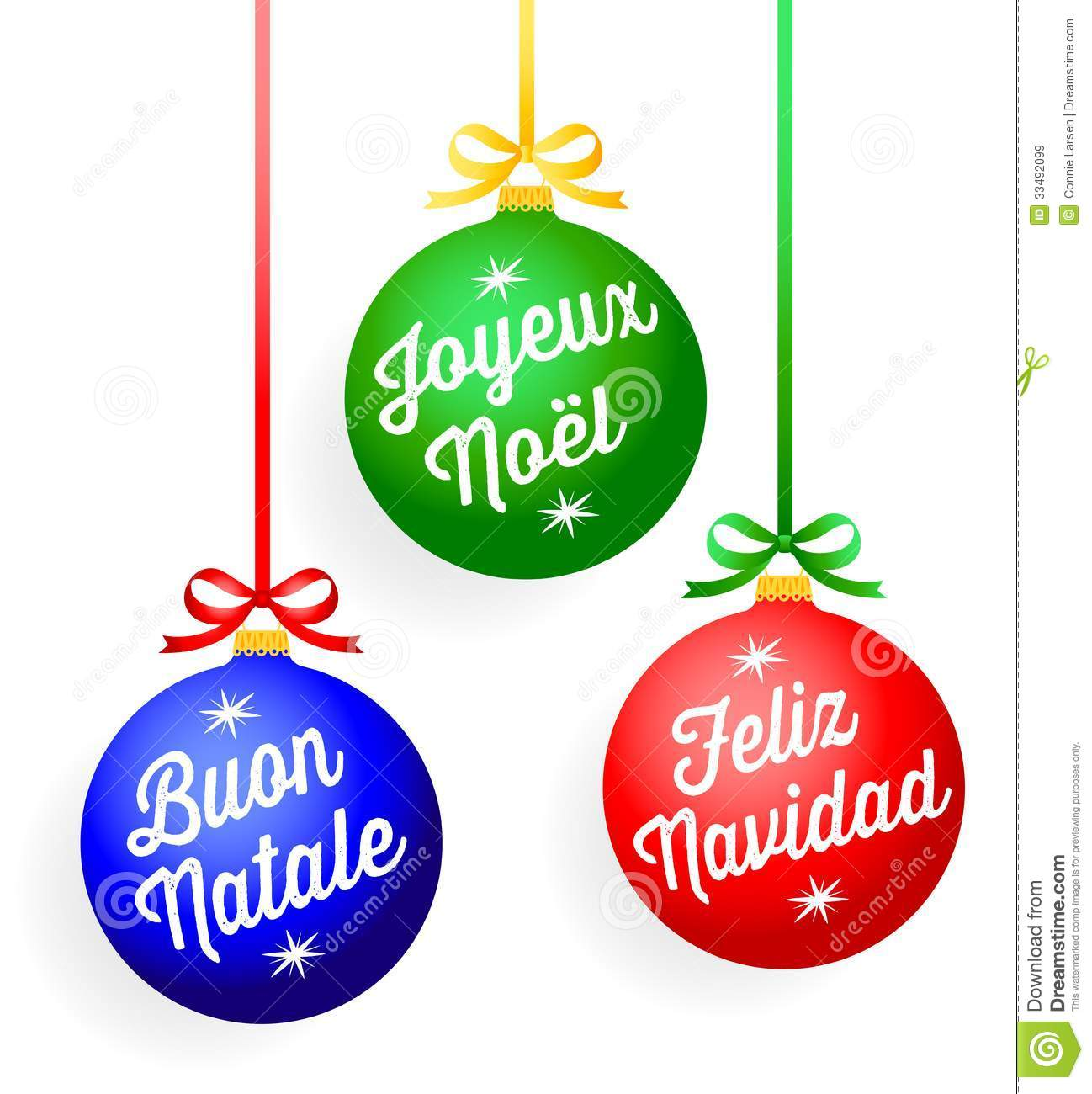 christmas language ornamentseps - Spanish Christmas Decorations