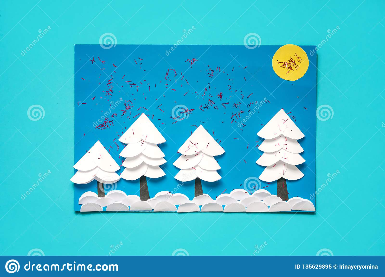 Christmas Greeting Paper Card With 3d Winter Landscape Creative