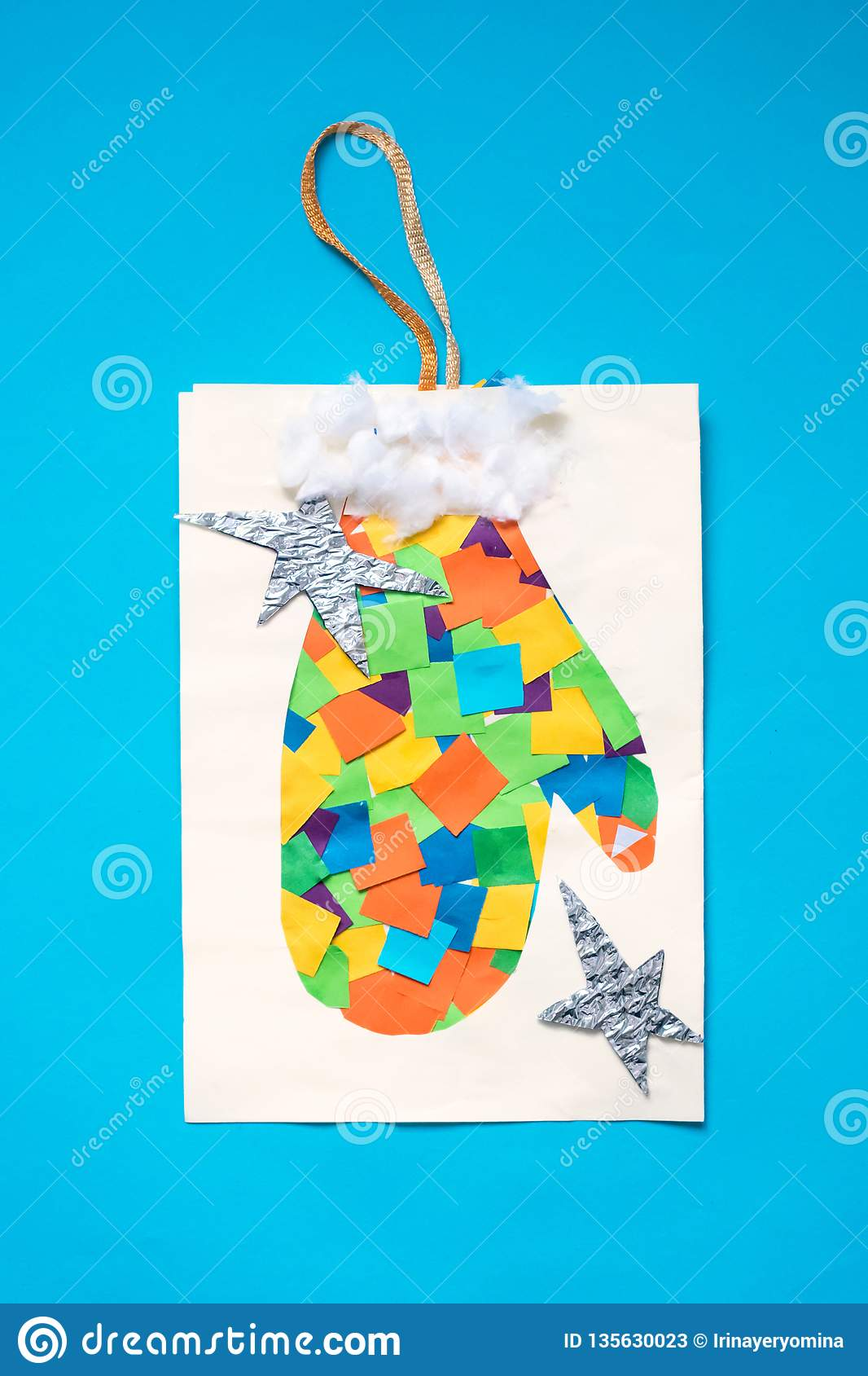 Christmas Greeting Paper Card With Patchwork Mitten