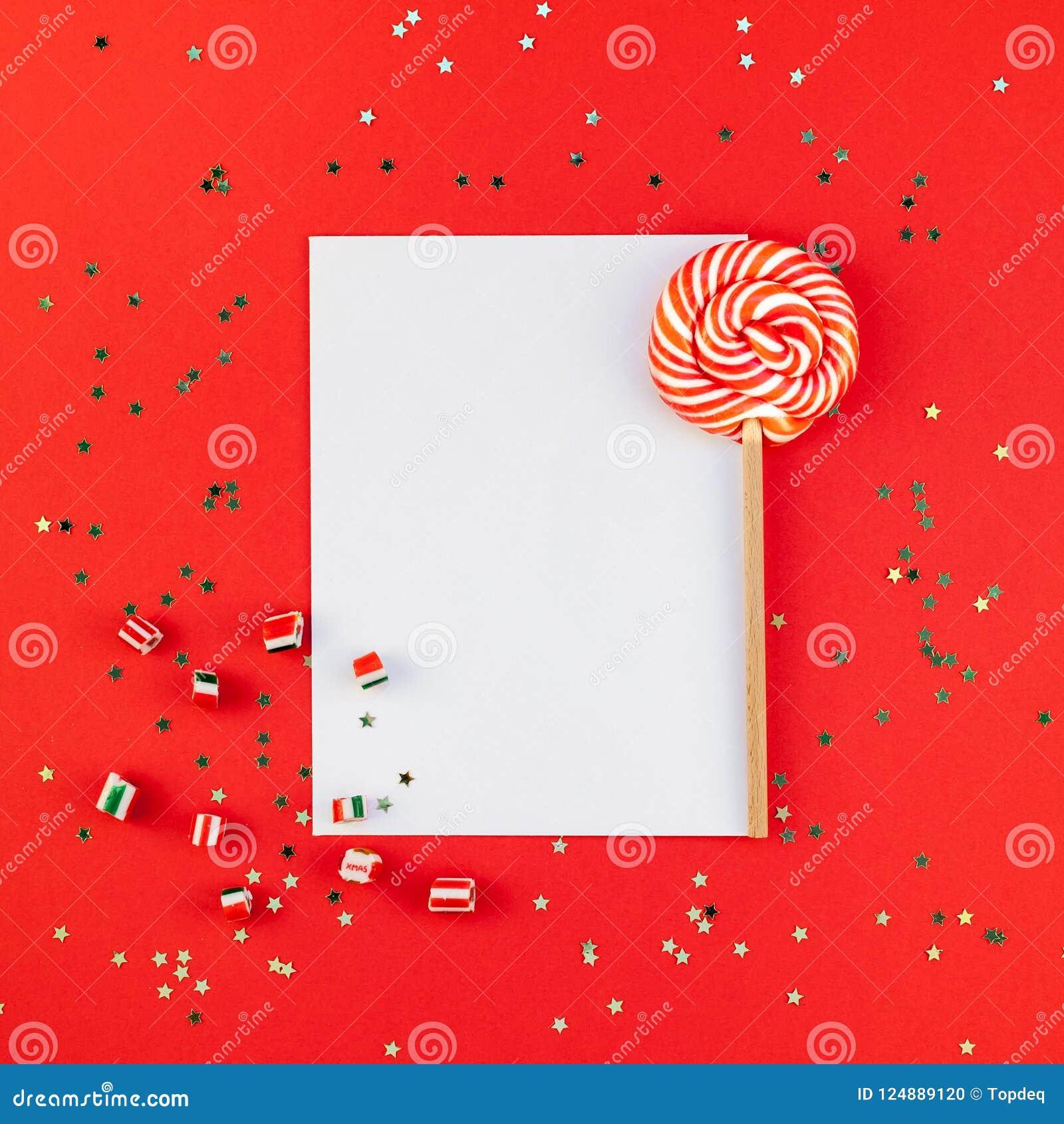 Christmas Greetings Letter.Christmas Greeting Postcard Mockup With Glitter Stock Photo