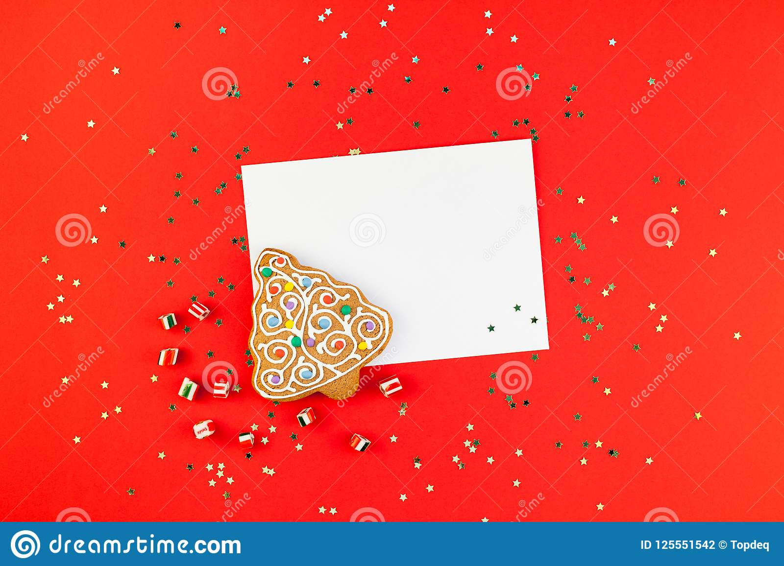 Christmas Greeting Postcard Mockup With Glitter Stock Photo Image
