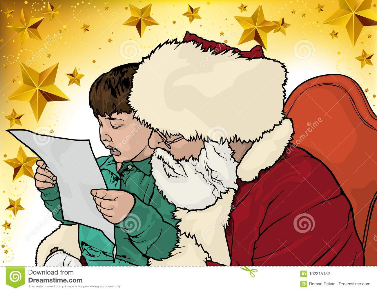 Christmas Greeting with Santa Claus and Little Boy