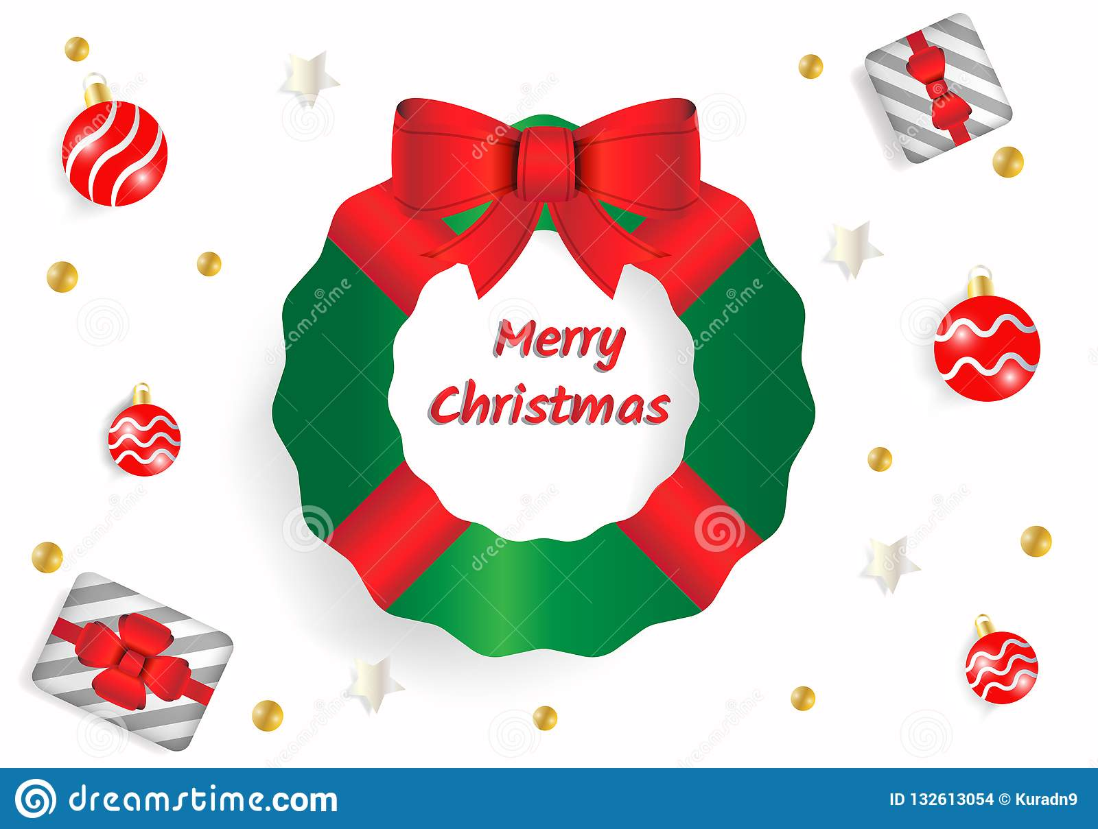 Merry Christmas greeting text in white background. Using green fir tree with red ribbon bow, gift box, silver star and red ball