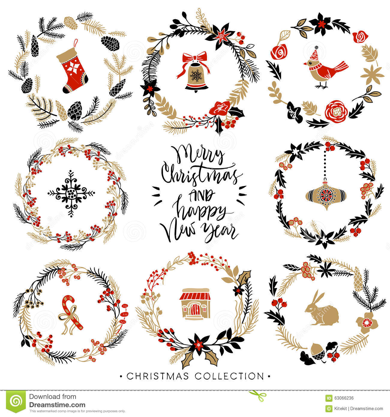 Christmas greeting wreaths with calligraphy hand drawn