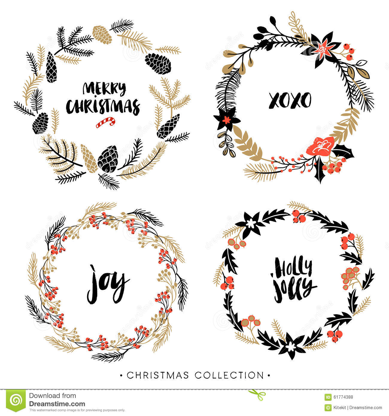 Christmas Greeting Wreaths With Calligraphy. Stock Vector