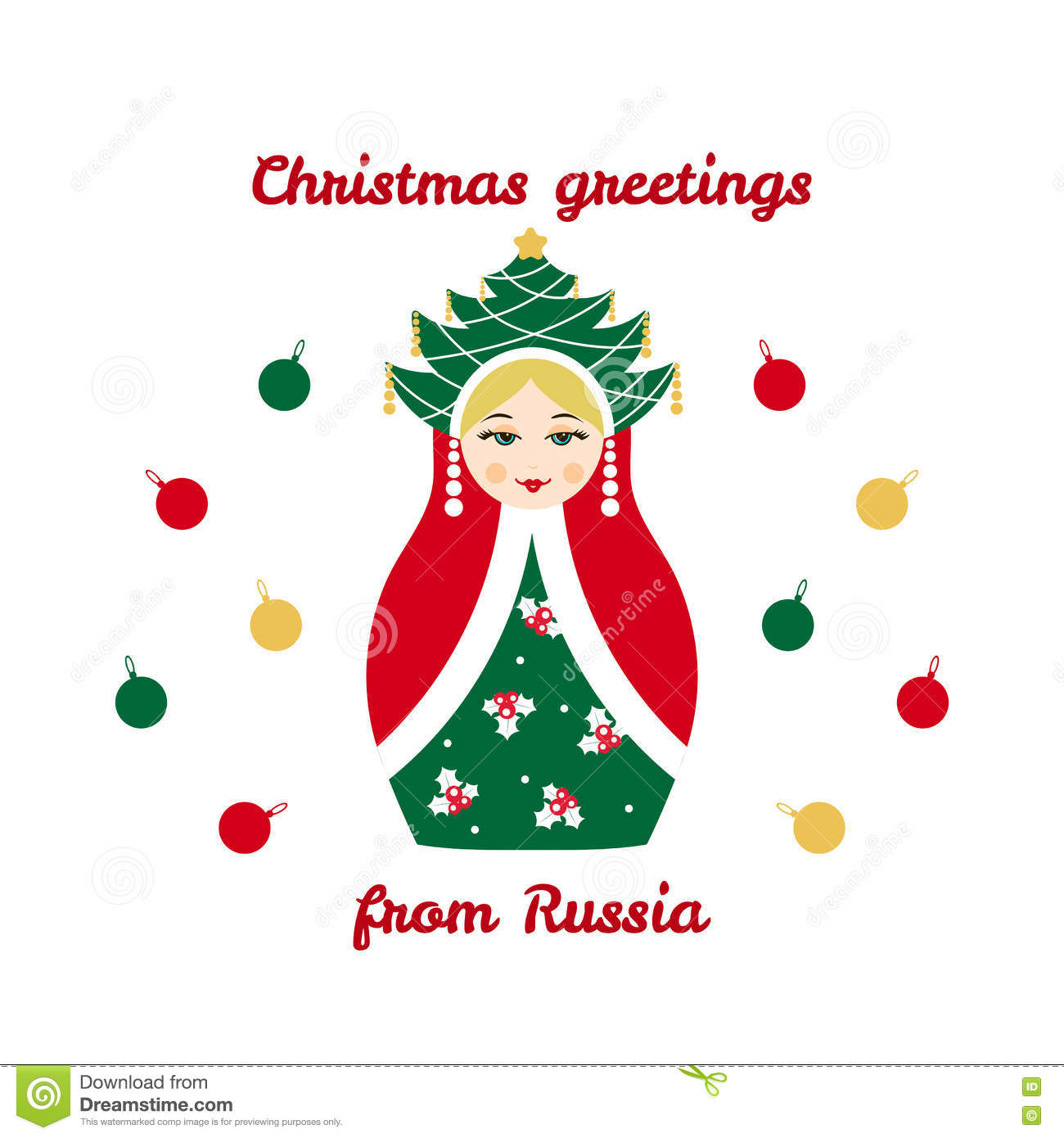 christmas greetings from russia card with russian traditional wooden toy