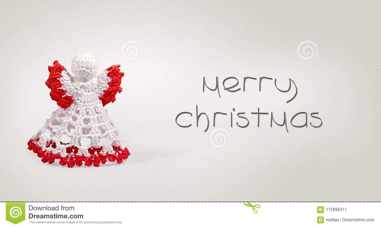Merry Christmas Writing.Greeting Card With Merry Christmas Writing With Crochet