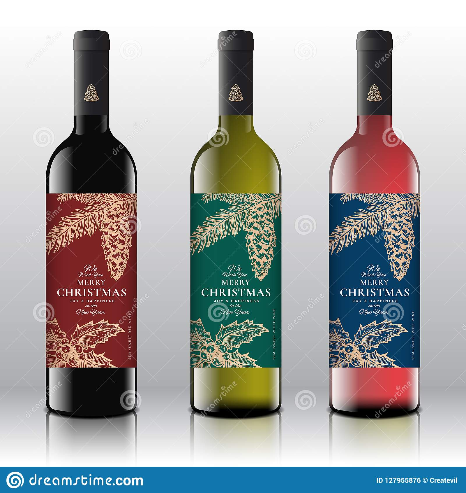 Christmas Greetings Wine Bottle Labels Concept. Red, White ...