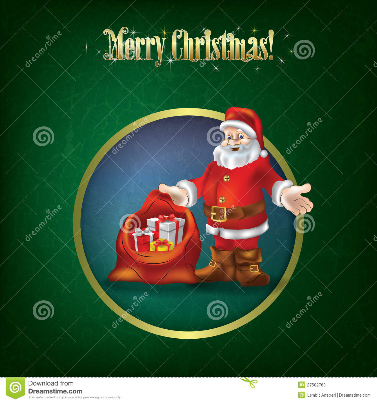 Christmas grunge greeting with santa claus royalty free