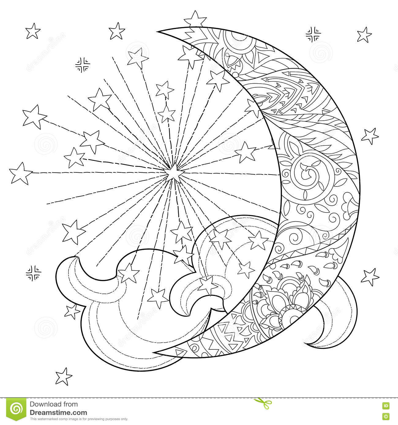 half moon coloring page - christmas half moon with stars stock vector