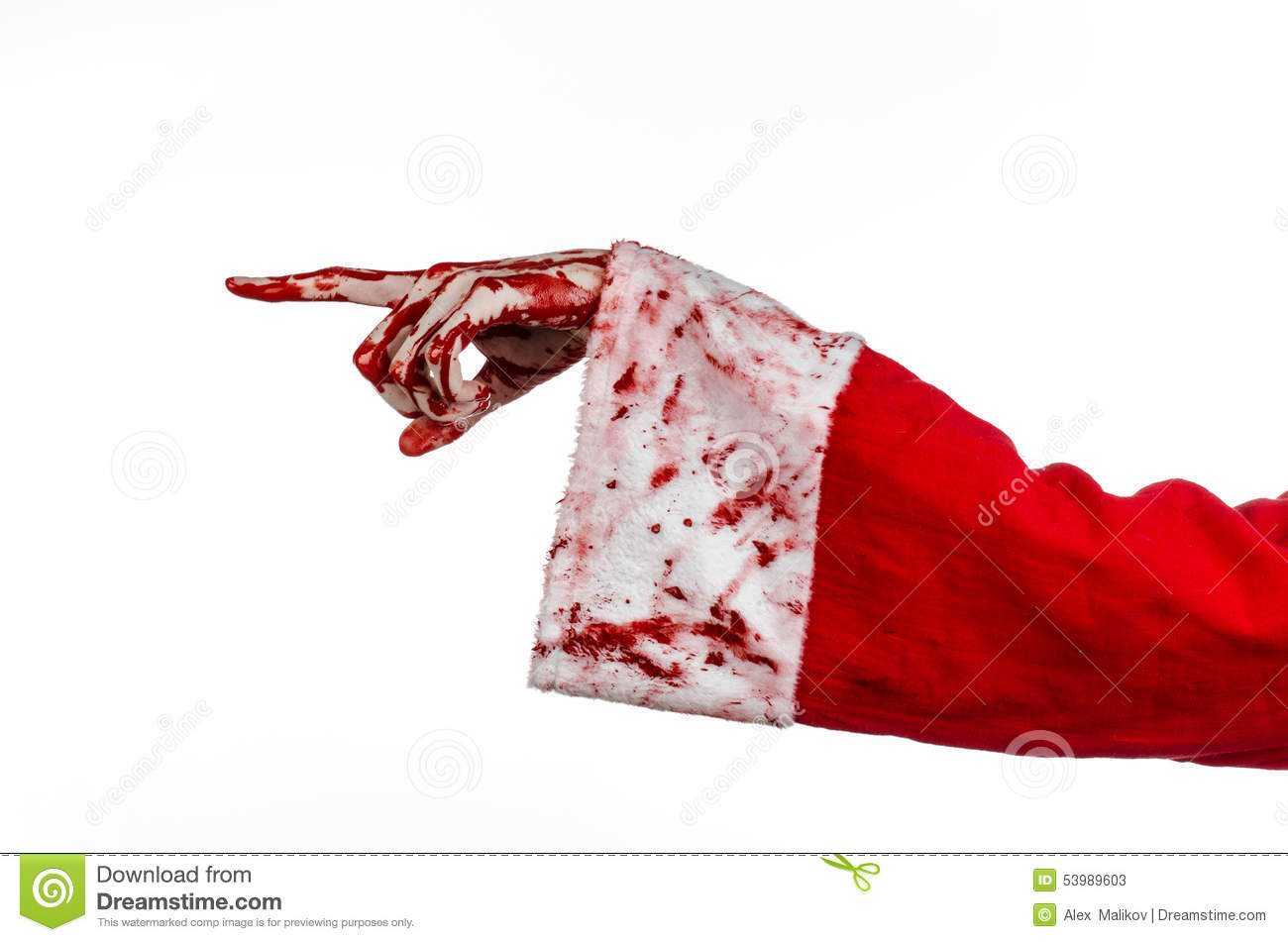 christmas and halloween theme santa zombie bloody hand on a white background