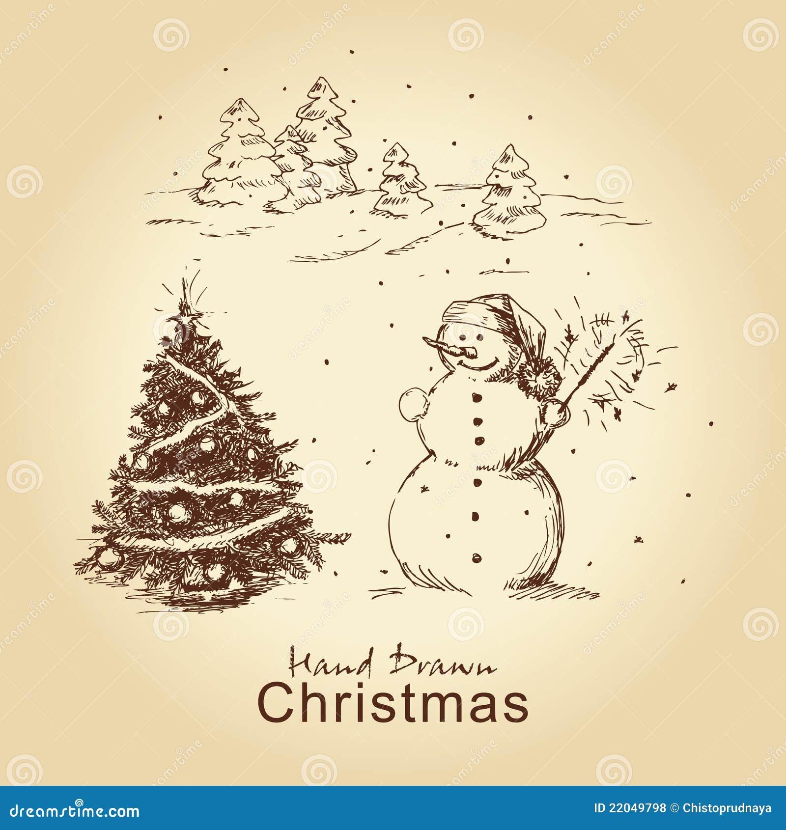 Christmas hand drawn card royalty free stock photos image 22049798
