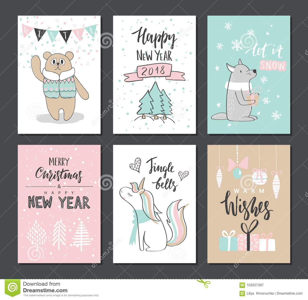 Christmas Hand Drawn Cute Cards With Bear, Wolf, Unicorn And Other ...