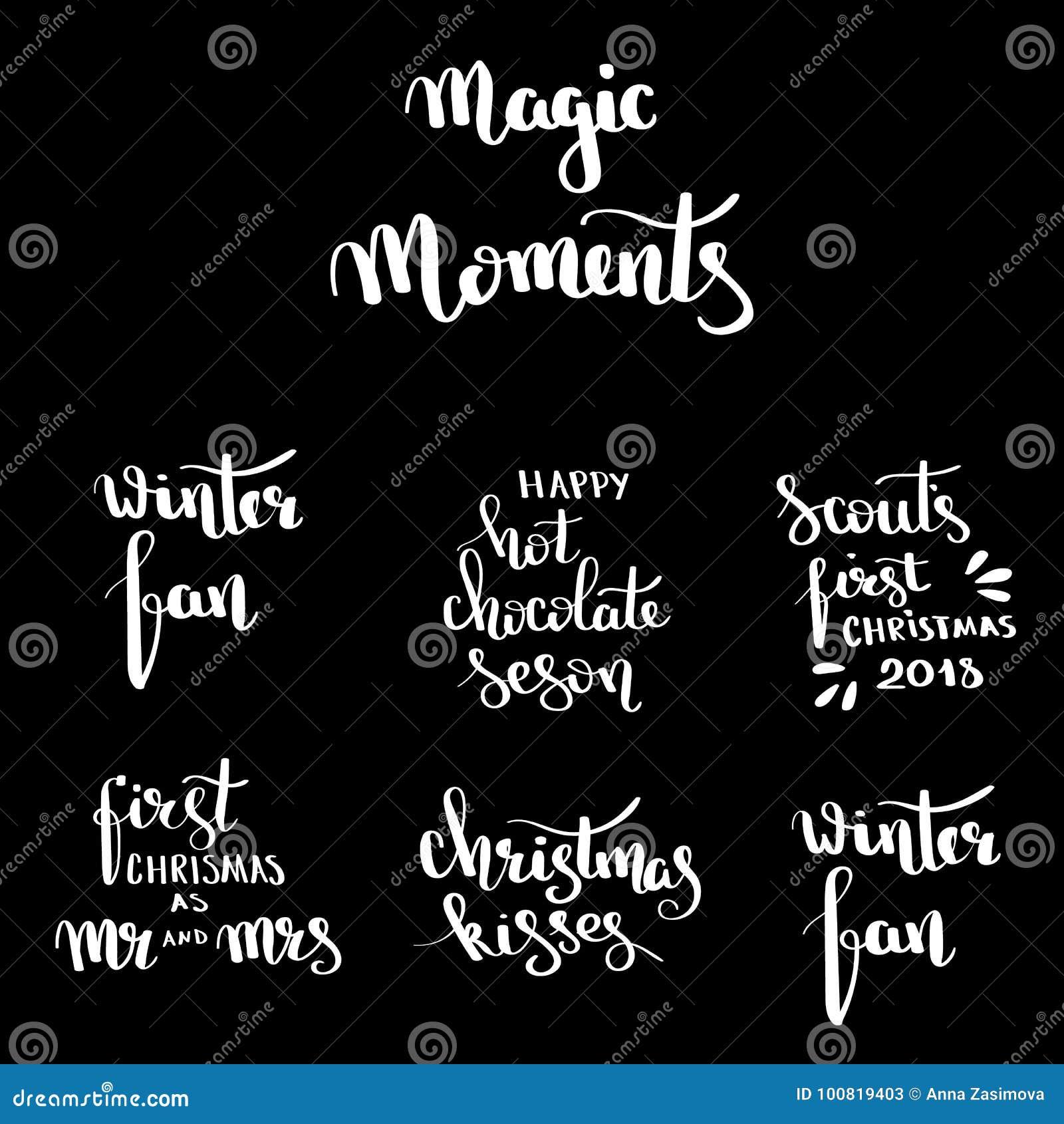christmas hand drawn lettering design set handwritten christmas