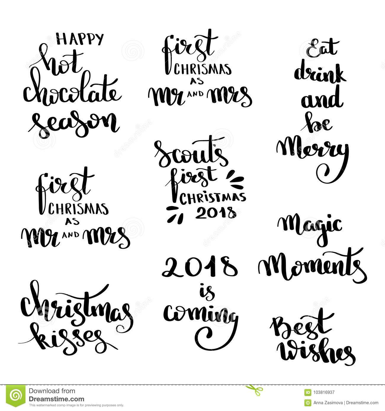 Christmas Hand Drawn Lettering Design Set Handwritten Christmas