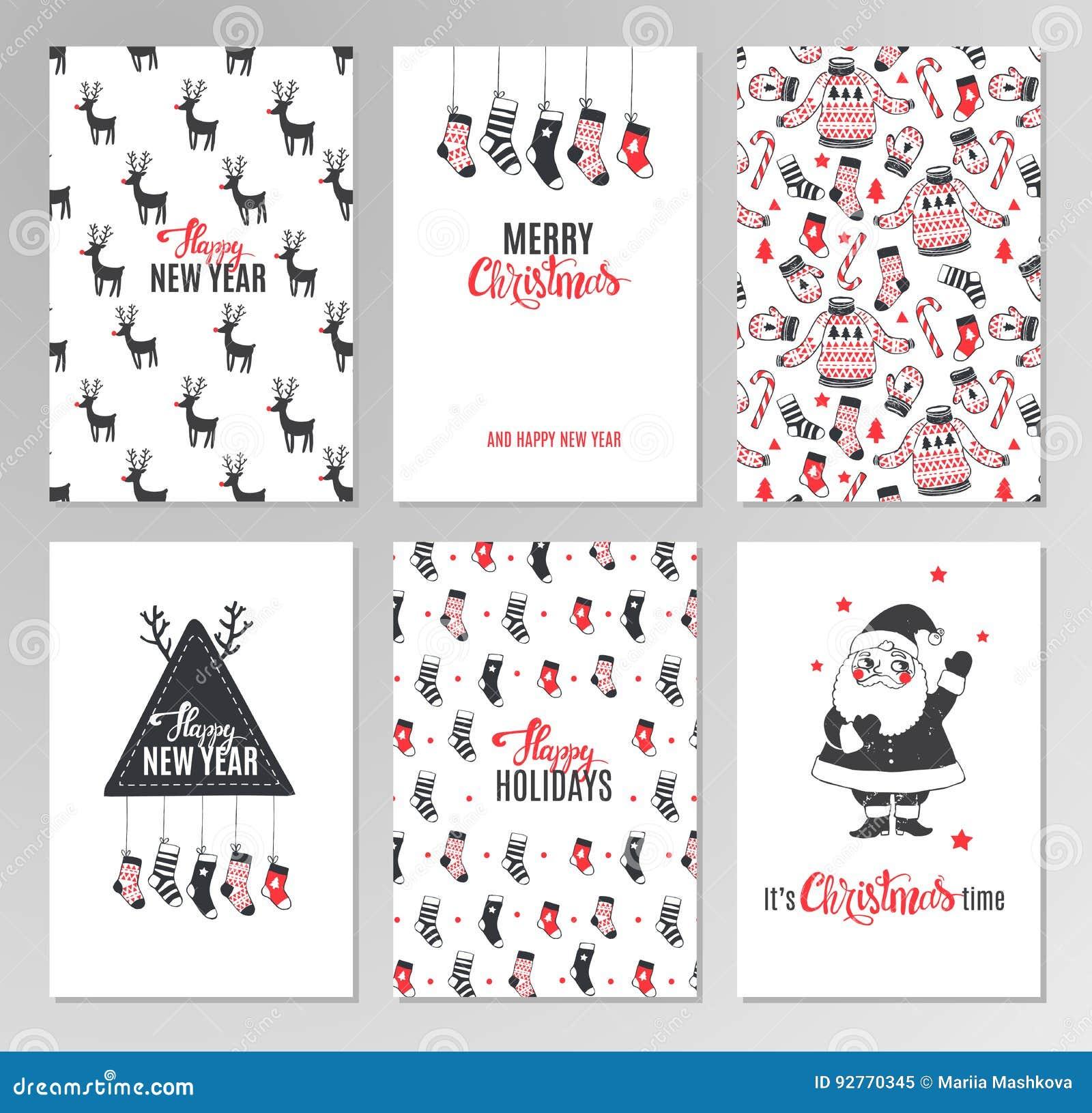 Christmas Hand Drawn Printable Cards. Stock Vector - Illustration of ...