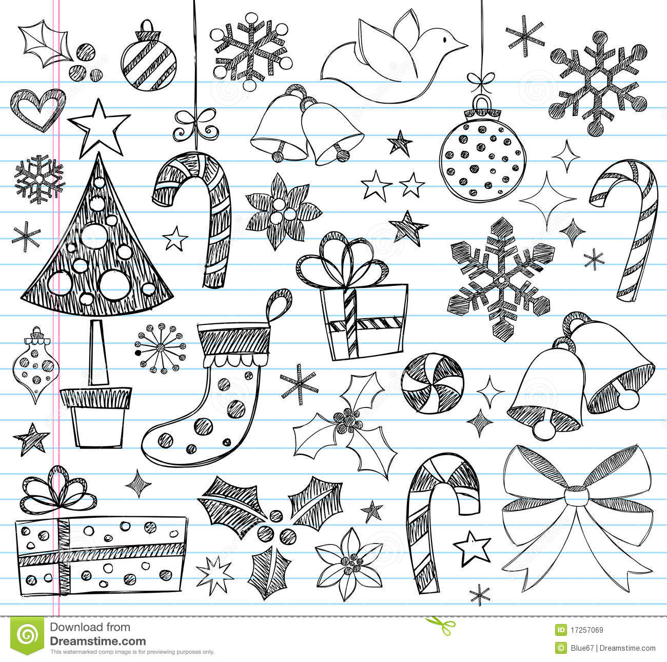 Christmas Hand Drawn Sketchy Doodles Royalty Free Stock