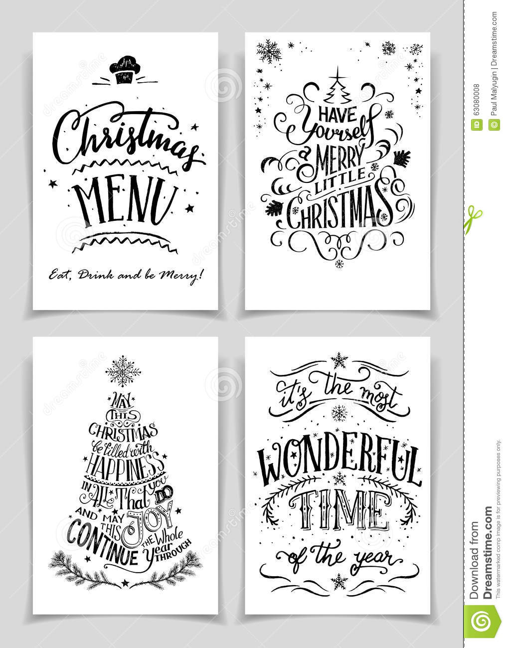 Christmas Hand Lettered Greeting Cards Set Stock Vector