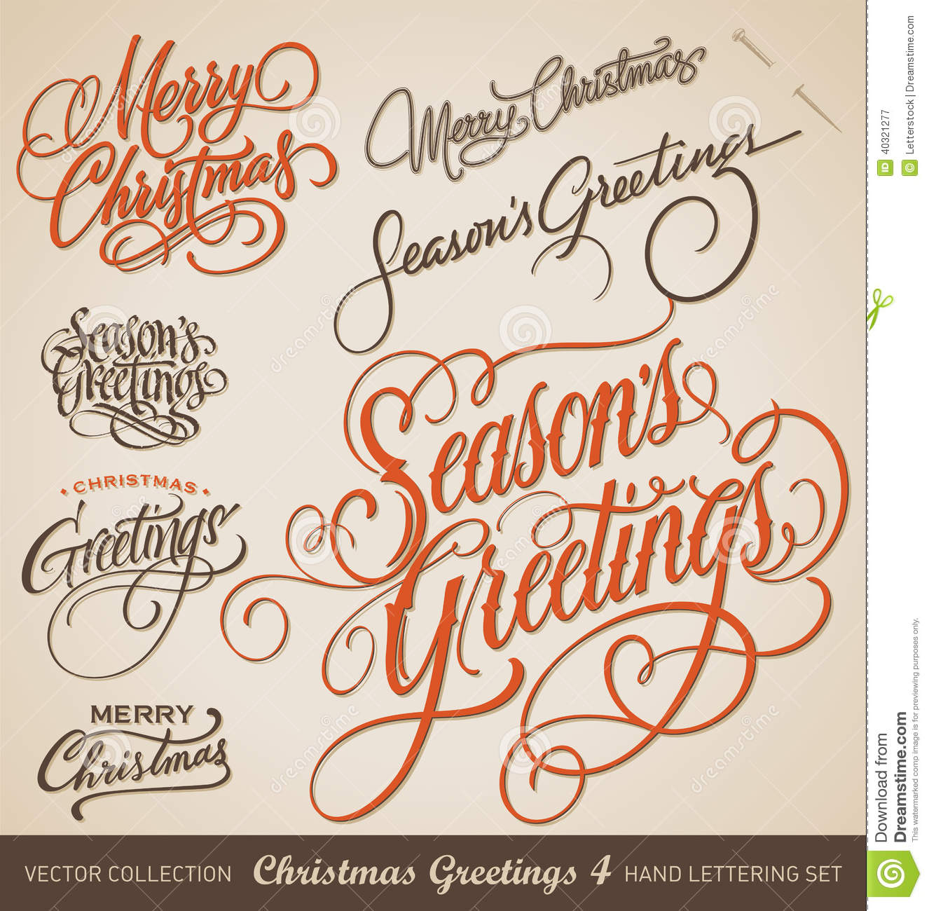 Christmas hand lettering set vector stock image