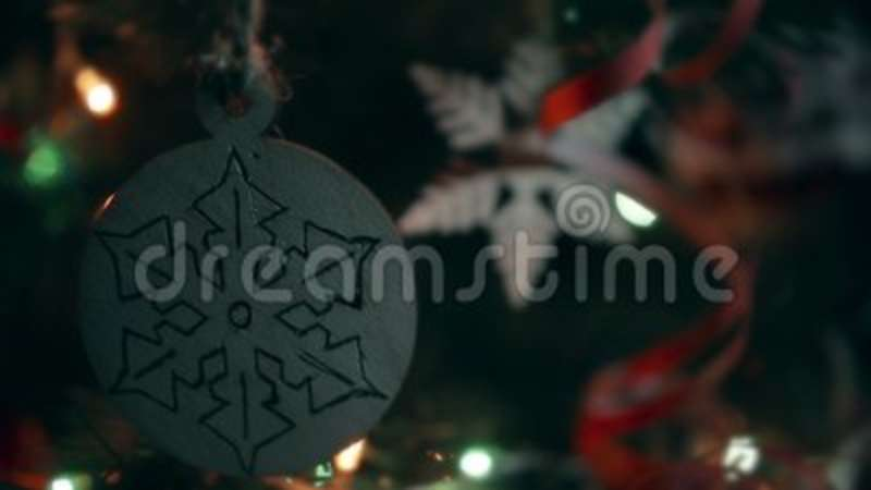 Christmas Handmade Decoration A Wooden Snowflake. Stock Video   Video Of  Christmas, Bokeh: 102240053