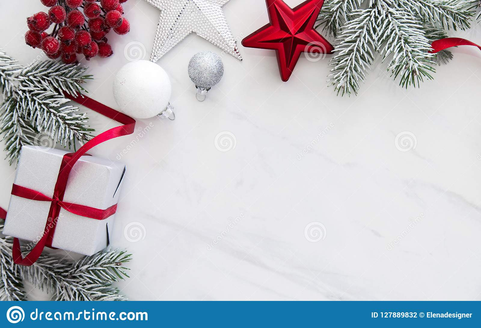 Holiday Background Or Greeting Card: Christmas Handmade Gift Boxes On White Marble Background